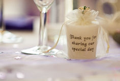 Inscripted Candle on Wedding Table Stock Images