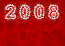 Inscription - 2008. From snowflakes and asterisks on a bright abstract red background Royalty Free Stock Photo