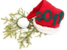 Inscription 2010 on red hat santa Stock Images