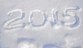 Inscription 2015 on the snow for the new yea Royalty Free Stock Photo