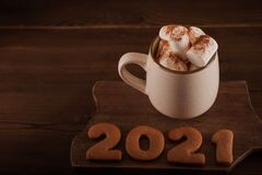Free Inscription 2021 Gingerbread Cookie. Happy New Year 2021 And Marshmallows In A Mug On A Dark Background Close Up And Copy Space. M Royalty Free Stock Photos - 193566248