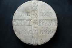Inscription of Abbot Audiberto /838y/  in Castelvecchio Museum. Verona,. Italy Stock Photo