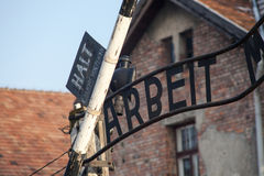 The inscription above the main gate to concentration camp Auschwitz. work makes you free. Royalty Free Stock Photography