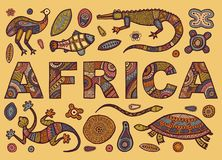 The inscription of AFRICA in ethnic style and Sketches of African animals Royalty Free Stock Image