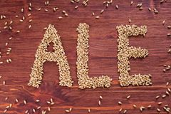 The inscription of ale by malt grains on wood background. Craft. Beer brewing from grain barley malt. Ale or lager from pale or dark pilsner malt royalty free stock photography