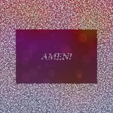 Inscription Amen in frame composed of snowflakes. On purple background Stock Images