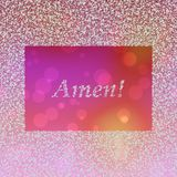 Inscription Amen in frame composed of snowflakes. White inscription Amen in frame composed of snowflakes on pink orange boken background Stock Photography