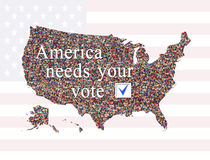 Inscription America needs Your vote before election. Inscription America needs Your vote before presidential election 2016 with map of USA Stock Image