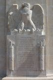 Inscription on American WW1 monument, Sommepy, France Royalty Free Stock Photography