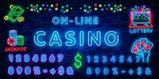Inscription au néon de casino en ligne Illustration de vecteur, texte au néon de casino en ligne avec des couleurs de contre-jour illustration stock