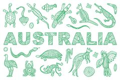 The inscription AUSTRALIA and outline the Australian animal Royalty Free Stock Photos