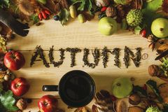 Inscription autum written by tea stock photos