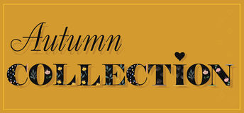 Inscription Autumn Collection. Black Floral Letters. Royalty Free Stock Photography