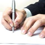 Inscription avec la main droite image libre de droits