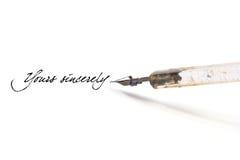 Inscription avec le crayon lecteur de cannette Photographie stock libre de droits
