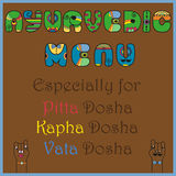 Inscription Ayurvedic Menu for doshas. Colored Letters Stock Photo