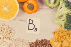 Inscription B3 and healthy nutritious food as source natural minerals, vitamin B3 and dietary fiber. Inscription B3 and nutritious food as source vitamin B3 royalty free stock photo