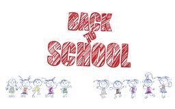 The inscription back to School. School illustration. For design with an inscription and funny children Vector Illustration