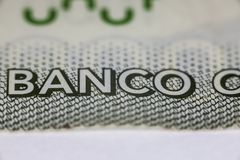 Inscription, banco in Chilean currency Stock Photography
