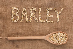 Inscription barley with a wooden spoon on burlap Royalty Free Stock Photography