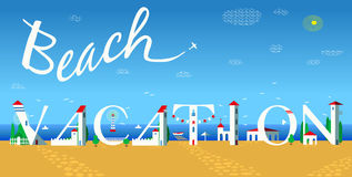 Inscription Beach vacation. Vector Illustration Stock Image