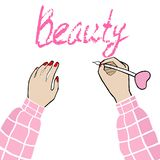 The inscription beauty and the girl in pink. Vector Illustration