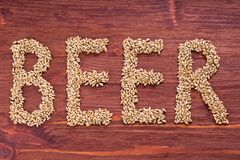 The inscription of beer by malt grains on wood background. Craft. Beer brewing from grain barley malt. Ale or lager from pale or dark pilsner malt stock image