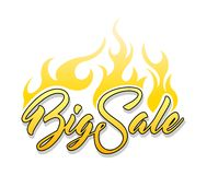 Inscription Big Sale. With fire on white background Royalty Free Stock Photo