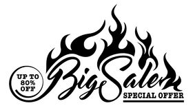 Inscription Big Sale. With fire on white background Stock Images