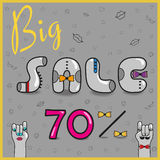Inscription Big Sale 70%. Vector. Inscription Sale with hipster style Stock Photography