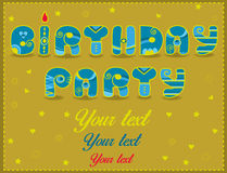 Inscription Birthday Party. Funny blue and yellow Letters Royalty Free Stock Photo