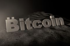 3d illustration of the inscription Bitcoin white in the moonlight. royalty free illustration