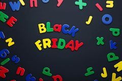 Black Friday. Inscription Black Friday by colourful letters Stock Photo