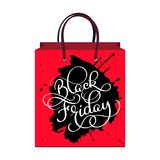 Inscription black Friday on the package, Sale and discount. Vector illustration Stock Photography