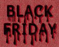 The inscription Black Friday from red letters in the form spreading paint. Dark red letters with shadow in the form of spreading paint on a red canvas. File EPS stock illustration