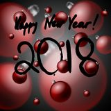 An inscription of a black paint of a happy new year 2018 with small and large red Christmas balls royalty free illustration