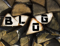 The inscription `blog`. On the Firewood Stock Image