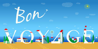 Inscription Bon voyage. Vector Illustration Royalty Free Stock Image