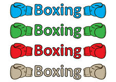 Inscription boxing gloves Stock Images