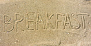 Inscription Breakfast On Sand Royalty Free Stock Photos