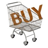 Inscription BUY in the supermarket cart. Royalty Free Stock Photo