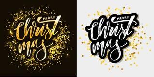 Inscription calligraphique de Joyeux Noël décorée d'or illustration de vecteur