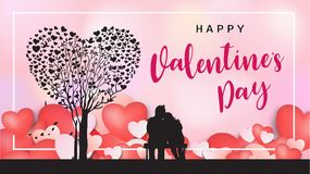 Inscription calligraphique de Valentine de jour heureux du ` s décorée du coeur rouge et du fond rose Illustration brochure, inse Image libre de droits