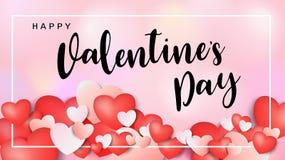 Inscription calligraphique de Valentine de jour heureux du ` s décorée du coeur rouge et du fond rose Illustration brochure, inse Photo libre de droits