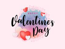 Inscription calligraphique de Valentine de jour heureux du ` s décorée du coeur rouge et du fond rose Illustration de vecteur bro Photographie stock libre de droits
