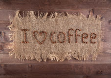 Inscription on the canvas, I love coffee.  Stock Images