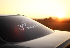Inscription on the car just married. Inscription behind the on the car just married Stock Photos