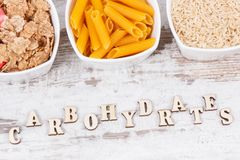 Inscription carbohydrates with natural ingredients and products as source vitamins, minerals and fiber Royalty Free Stock Image