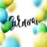 Inscription Carnival, background with balloons colors of Brazilian flag. Royalty Free Stock Photos