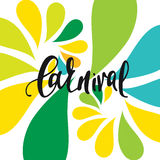 Inscription Carnival, background colors of the Brazilian flag. Stock Images